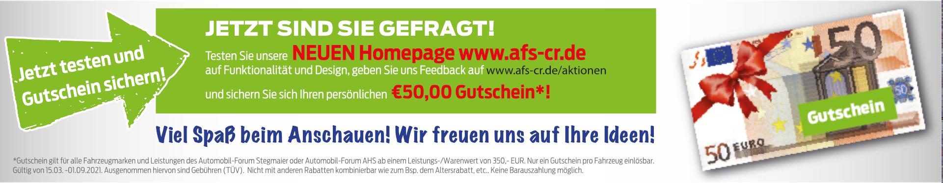 Aktion Homepage Gutschein – Abgelaufen